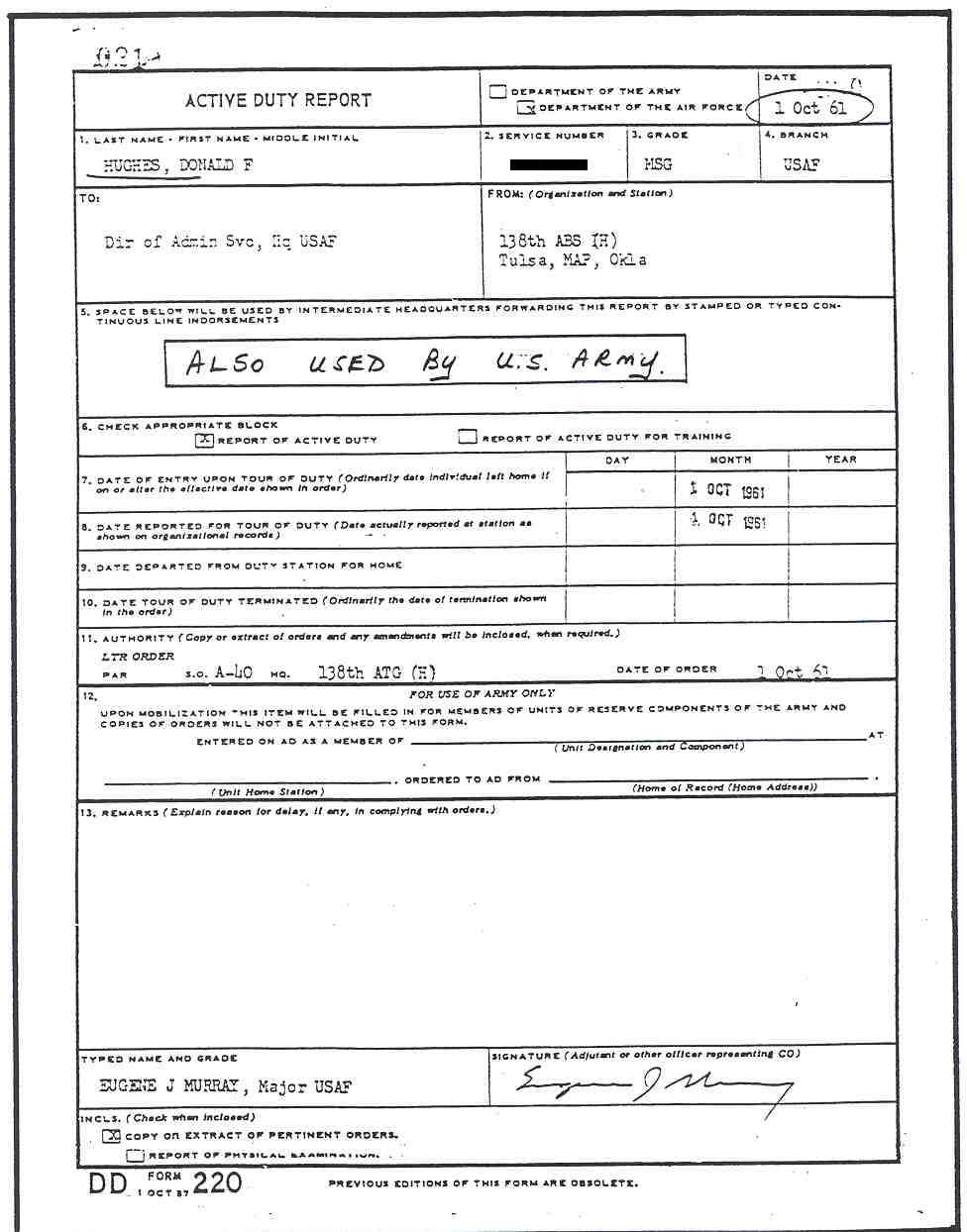 DD Form 220, Active Duty Report
