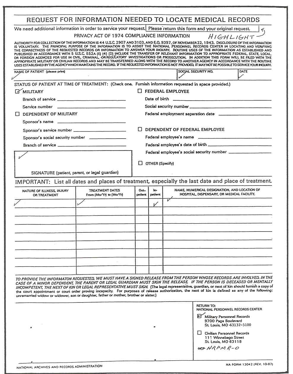 patient medical record template