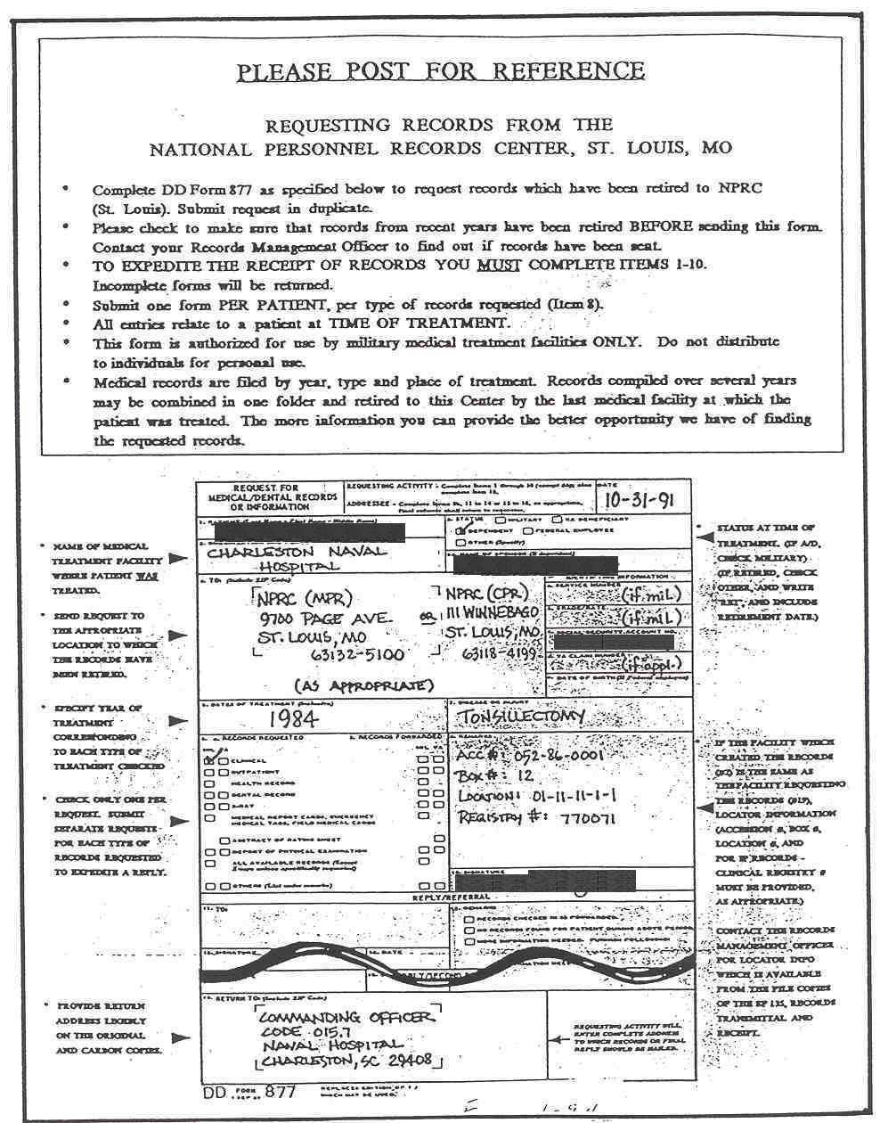 Orange instruction sheet for completing DD Form 877 – Dd Form
